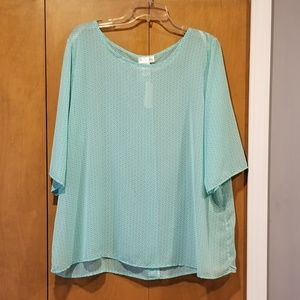 NWT green and white blouse 3XL